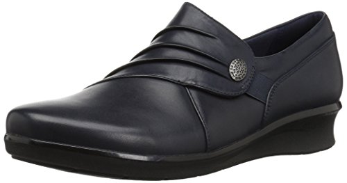 (Clarks Women's Hope Roxanne Loafer, Navy Leather, 11 W US)