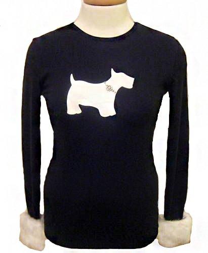 MY FLAT IN LONDON BLACK L/S T-SHIRT WHITE SCOTTIE W/ FUR CUFF NEW (Small) (Fur Shirt Cuff)