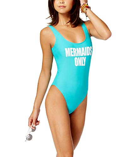 California Waves Juniors Mermaids Only Cheeky One-Piece Mint Green Swimsuit (L)