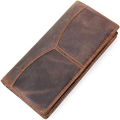 DRF Men's Vintage Genuine Leather Long Bifold Wallet BG-48