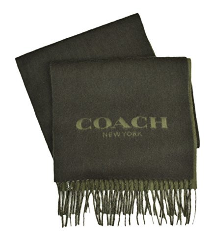 Coach New York Men's Cashmere Wool Blend Bi Color Logo Rectangle Scarf Military ()
