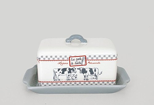 Pot Cow Ceramic Kitchen (French Country Ceramic Cow Butter Dish with Cover)