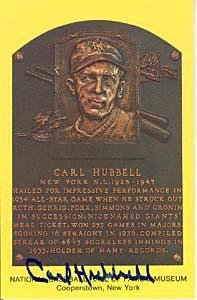 Carl Hubbell Autographed Baseball HOF Plaques - Autographed MLB Photos
