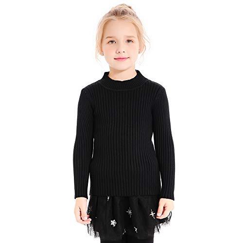 (SMILING PINKER Kids Girls Pullover Sweaters Knit Long Sleeve Turtleneck Fall Winter Basic Tops(4-5,Black))