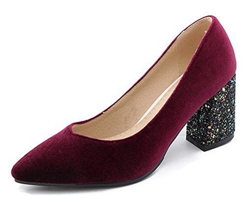 Aisun Femmes Paillettes Paillettes Habillées Pointu Orteil Coupe Basse Partie Nuptiale Mi Block Talon Slip On Pumps Chaussures Vin Rouge