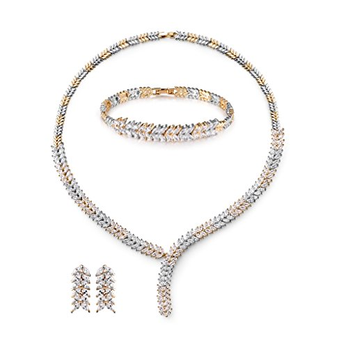 Swarovski Gold Tone Necklace - MASOP Luxury Marquise Cluster Leaf Shape Crystal Jewelry Set for Women Bracelets/Earrings/Necklace Gold