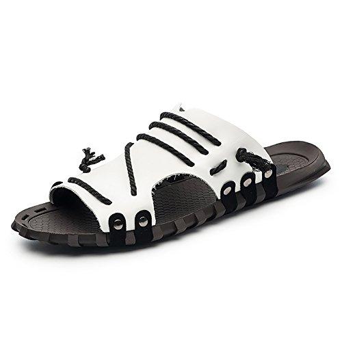 Tamaño 46 sandalia Vintage Antideslizante Zapatos de Zapatillas Hombre correa niño Blanco suave tobillo de Confortable Color playa Blanco ZJM abierto Diseño UHAdnqwA