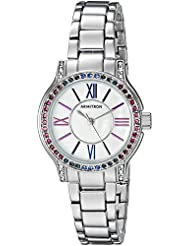 Armitron Womens 75/5371MPSVBL Multi-Color Swarovski Crystal Accented Silver-Tone Bracelet Watch