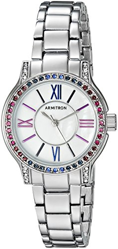 Armitron Women's 75/5371MPSVBL Multi-Color Swarovski Crystal Accented Silver-Tone Bracelet Watch