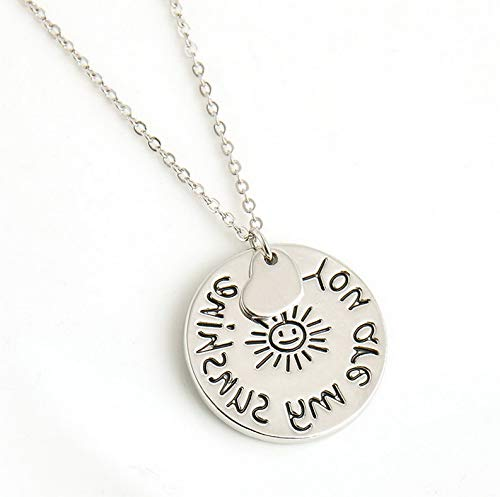 Florance Jones Lovely Sun Coin Pattern Pendant Necklace Chain You are My Sunshine Mural Words| Model NCKLC - 513 |