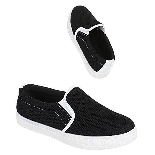 Womens Shoes, 001572, halbschuhe Slipper Ballerinas Black - Black