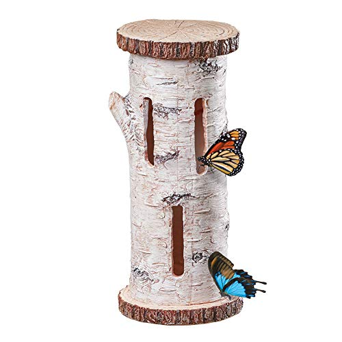 Collections Etc Faux Birch Butterfly House Tree Mount with Three Slot Openings - Outdoor Decorative Accent for Nature Lovers