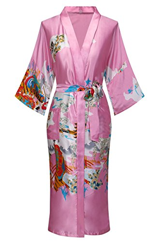 Old-to-new Women's Long Kimono Robe Silk Bathrobe with Pockets-Multi-Pattern,Pagoda Pink -