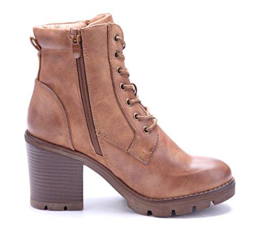 Schuhtempel24 Damen Schuhe Klassische Stiefeletten Stiefel Boots Blockabsatz Reißverschluss 9 cm Camel