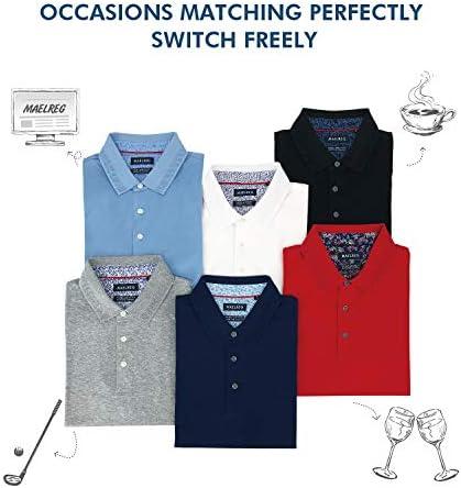 41nNpdTAOCL. AC M MAELREG Men's Mercerized Cotton Short Sleeve Pima Polo Shirts Casual Collared Shirts    Product Description