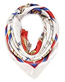 YOUR SMILE Silk Feeling Scarf Women's Fashion Pattern Beige Chain Large Square Satin Headscarf (403)
