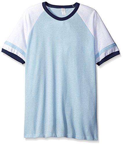 (Alternative Men's Vintage 50/50 Jersey Slap Shot Tee, Blue Sky/White/Navy,)