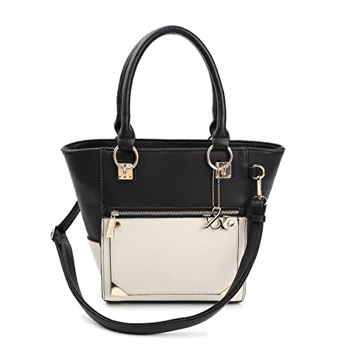 Hue & Ash Two Tone Classic Structured Top Handle Bag In Black Hna174-6228
