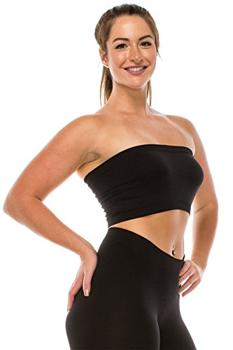 Kurve Seamless Bandeau Tube top - UV Protective Fabric, Rated UPF 50+ (Non-Padded) -Made in USA- Black ()