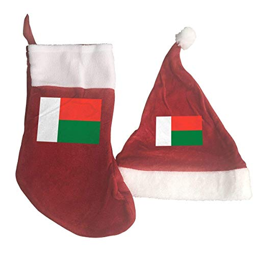 Madagascar Flag Santa Hat & Christmas Stocking Holiday Christmas Decorations Party Accessory -