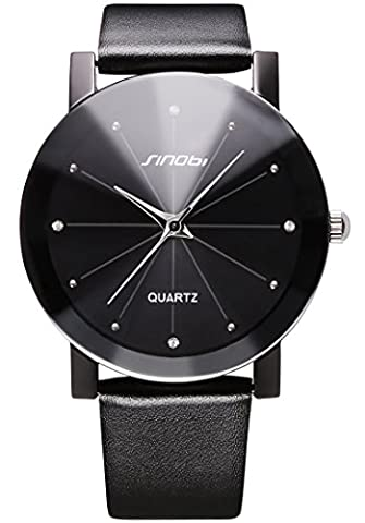 Men's Analog Quartz Casual Black Watches, PU Leather Strap Stylish Simple Unique Wrist Watch for (Mens Leather Watches Small)