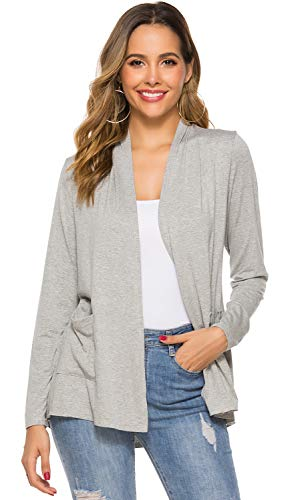 POGTMM Women's Casual Lightweight Summer Open Front Long Sleeve Cardigans with Pockets (10Heather Grey, S(4-6)) (Long Sleeve Cardigan For Juniors)