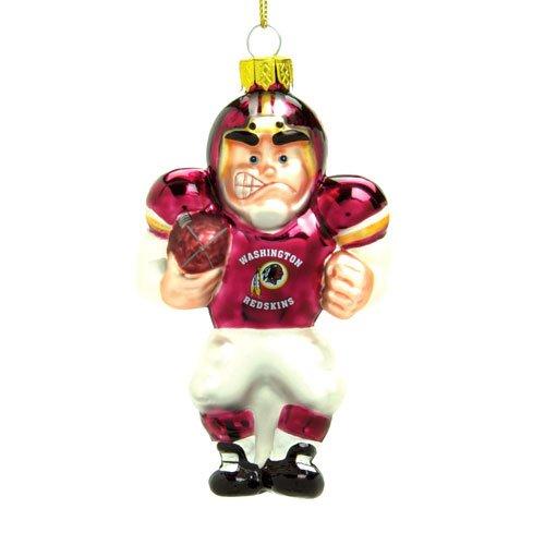 SC Sports Washington Redskings Glass Football Player Ornament - Washington Redskins One Size - Nfl Glass Player Ornament