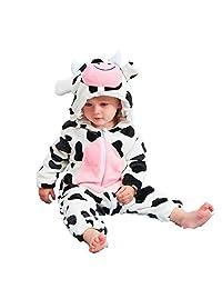 Autumn and Winter Warm Flannel Bathrobe, Baby One-Piece Suit Cow Animal Shape Romper, Children's Pajamas