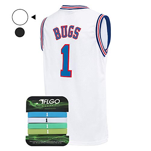 AFLGO Bug Space Jersey Basketball Jersesy Include Set Glow in The Dark Wristbands S-XXL (White, M/48) -