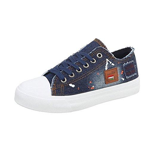 donna da Ital low Fonc Sneaker Design Bleu Sneakers piatto Scarpe xwtqtnPRSg