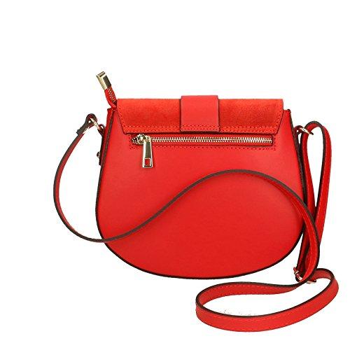 Tracolla Vera Chicca 23x19x6 Cm Rouge A Italy Donna Clutch Spalla Pelle In Borse Da Made Borsetta qzTzxXf