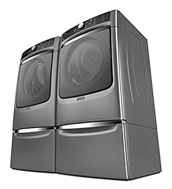 Maytag Power Pair- Mega Capacity Laundry System with Steam Options, matching ELECTRIC Dryer, and 2 matching Storage Pedestals(MHW8100DC + MED8100DC + XHPC155YC X 2) *Metallic Slate Finish*