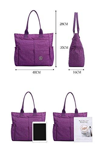 Nylon Water Resistant Multi Pockets Large Lightweight Tote Bag Shoulder Bag Waterproof Handbags (LightGray HB) by MORHUA (Image #4)