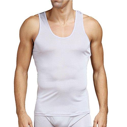 - Pure Silk Knit Mens Tank Top Solid US S M L[USM,Gray]