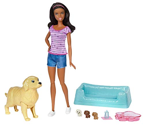 Barbie Newborn Pups Doll & Pets (Barbie Dolls African American)