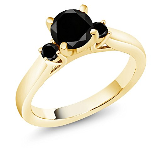 (1.25 Ct Round Black Diamond 18K Yellow Gold Plated Silver 3-Stone Ring (Size)