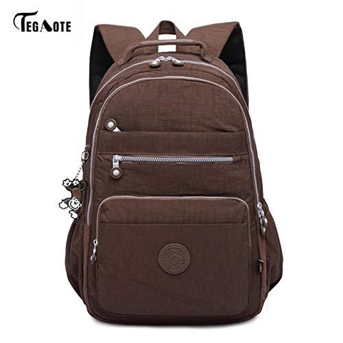 marron-27CMX13CMX37CM 1367-ftpk  QWKZH Sacs à Dos Laptop sac à dos femmes voyage sacs Multifunction sac à dos imperméable Nylon School sac à doss for Teenagers