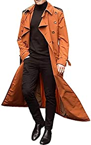 Manooby Mens Long Breasted Trench Coat Casual Lapel Long Sleeve Windbreaker Overcoat Jacket