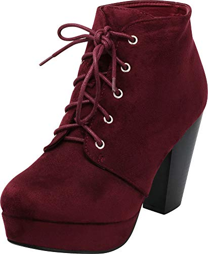 Burgundy Lace Select Women's Ankle Bootie Imsu Cambridge Chunky Heel Platform up Stacked EvcUxApqSH