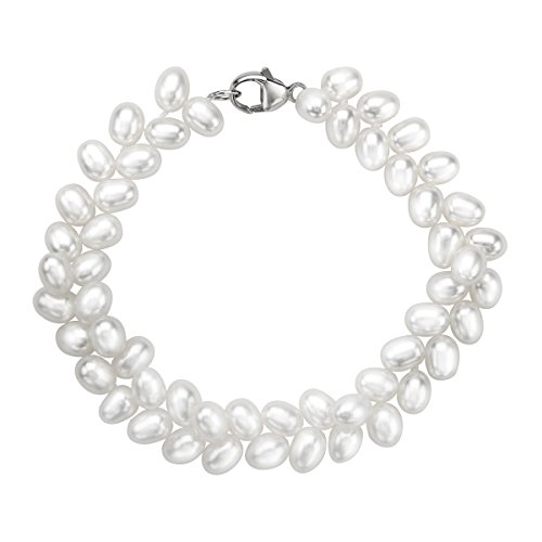 Honora 5 mm Oval Freshwater Cultured Pearl Herringbone Bead Bracelet with Sterling Silver Clasp
