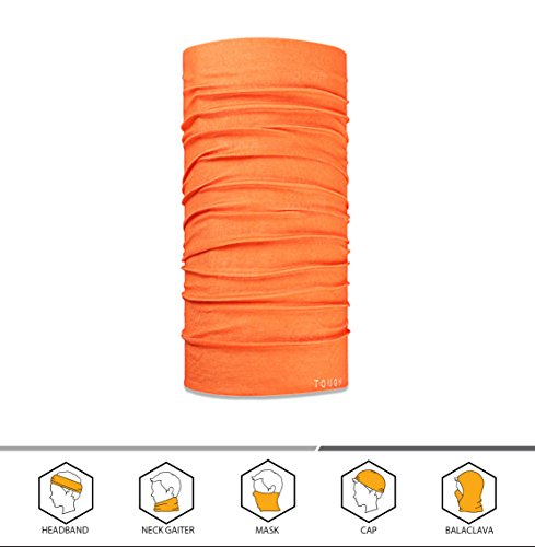 Headwear Winter Beanies (12-in-1 Headband [Solids] - Versatile Lightweight Sports and Casual Headwear - Bandana, Neck Gaiter, Balaclava, Helmet Liner, Mask and More. Constructed with High Performance Moisture Wicking Microfiber Fly Orange)