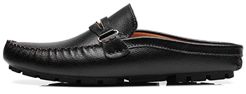 Men's Backless Loafer Featuring Slippers Hollow Comfortable Soft Scuff Tassels Leather Slippers Slip-on Loafters Shoes (10 D(M) US, 9 Black) by Hi Sport