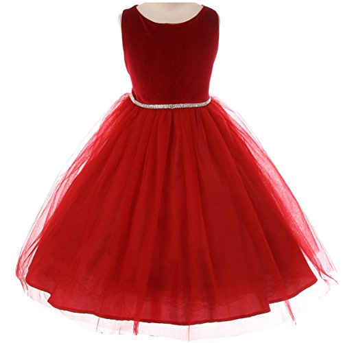 Little Girls Simply Elegant Velvet Bodice Tulle Skirt Rhinestone Waist Trim Flower Girl Dress Red - Size 2