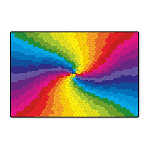 (Colorful Door Mats for Home Stained Glass Design in Rainbow Colors Burst Effect Abstract Mosaic Swirls Artwork Bath Mat for Bathroom Mat 16