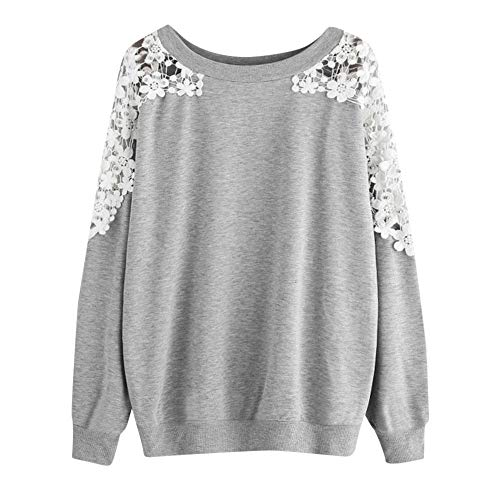 Women Blouse, Limsea Solid Color Lace Patchwork Round Neck Long-Sleeved Sweater(Gray ,XXX-Large) (Sleeved Turtleneck Ribbed Girls Long)