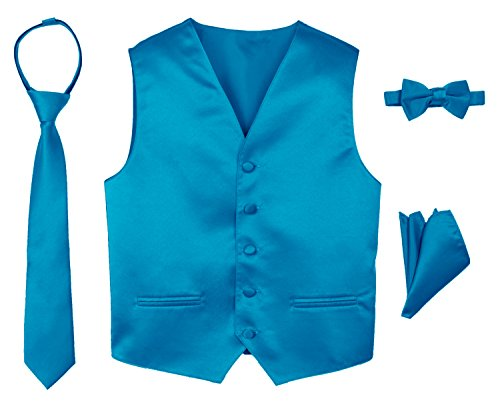 (Spring Notion Boys' 4-Piece Satin Tuxedo Vest Set 12 Turquoise)