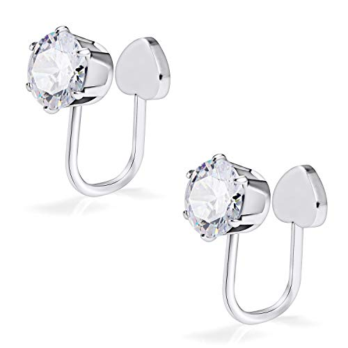 SCERRING Pair of Clear CZ Stainless Steel Ear Cuff Helix Cartilage Clip on Wrap Earrings Non Piercing Fake Nose Lip Tragus Jewelry for Women Girls Silver