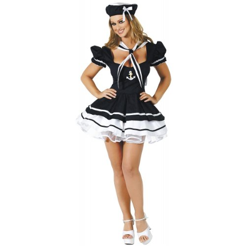 Sailor Sweetie Adult Costumes (Roma Costume 3 Piece Sailor Sweetie As Shown, Navy Blue, Medium/Large)