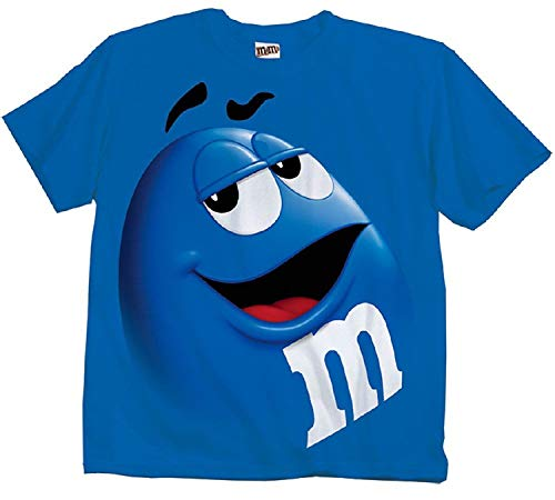 M&M Candy Blue Silly Character Face Adult T-Shirt (Adult Large)