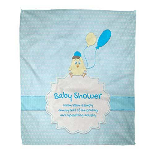 - Golee Throw Blanket Blue Birth Baby Cute Chick Announcement Balloon Birthday Born Boy 50x60 Inches Warm Fuzzy Soft Blanket for Bed Sofa